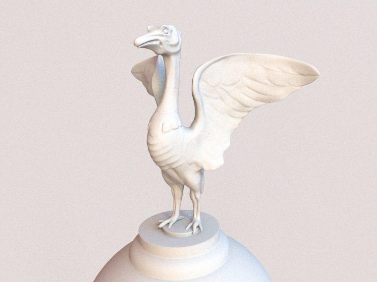 White ceramic bird against a white background